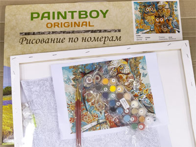 Состав набора для раскрашивания на холсте на примере Paintboy Original