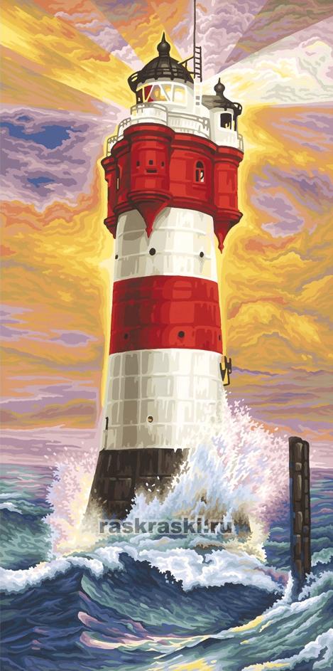 Раскраска по номерам маяк