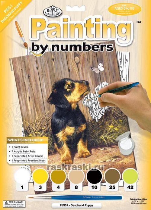 Раскраска по номерам royal langnickel щенок