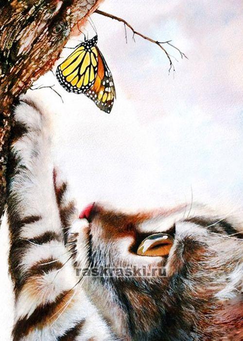 картина кошка ловит бабочек