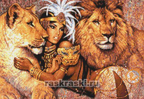 Фото девушки со львами