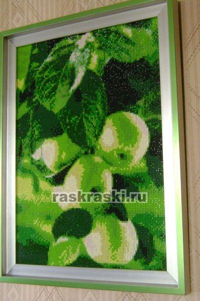 Алмазная вышивка зеленые яблоки 32