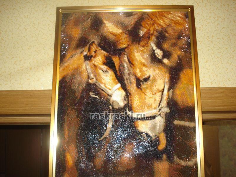 Алмазная вышивка лошадь готовая работа 61