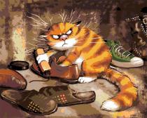 Живопись по номерам / Картина по номерам «Кот чистит ботинки»