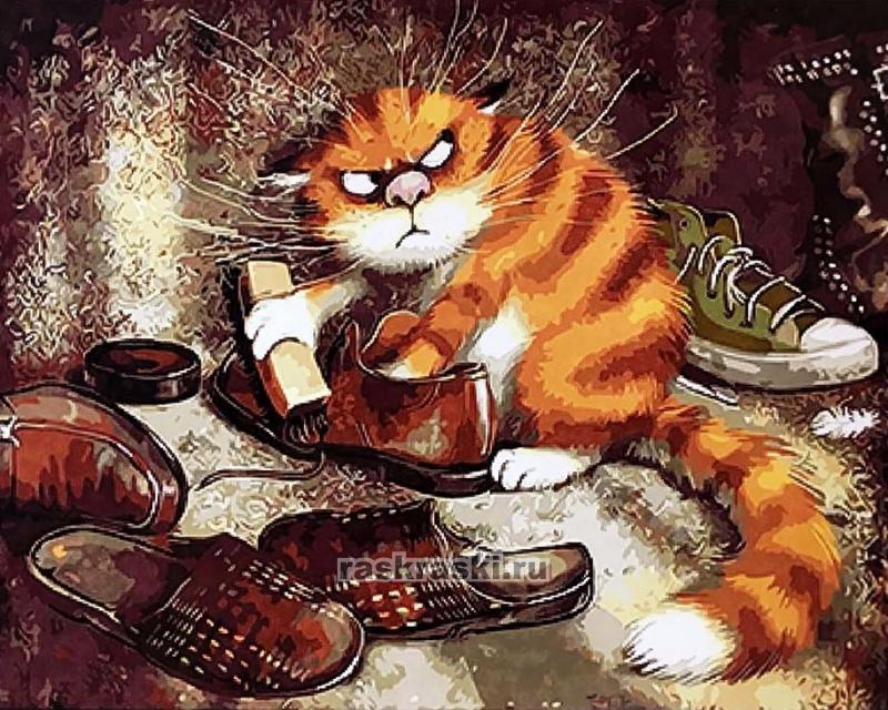 Paintboy / Картина по номерам «Очищение (Кот чистит ботинки)»