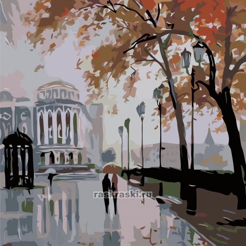 «Дождливый город» Живопись по номерам AB07 — купить ...  Дождливый Город Картина