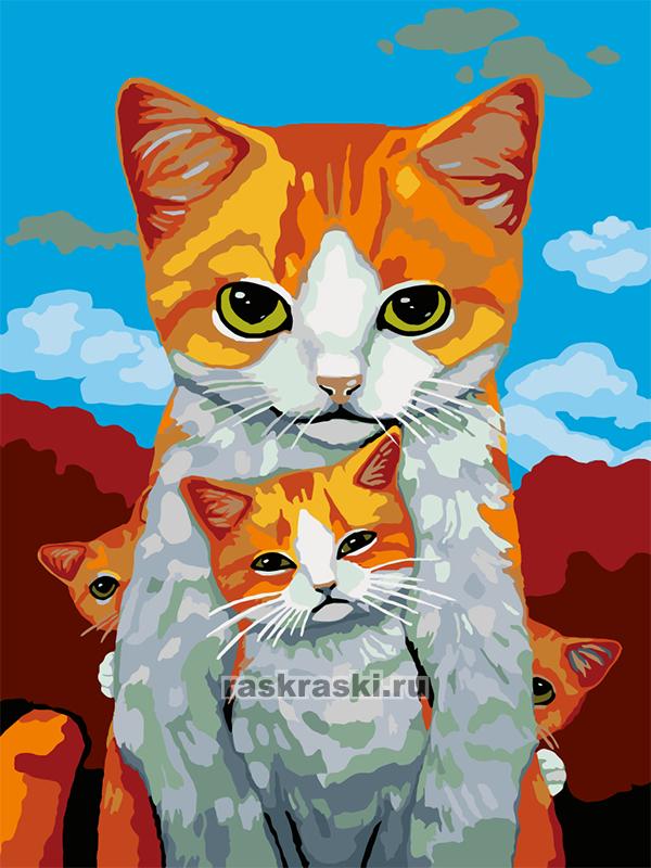 «Кошка с котятами» Живопись по номерам A338 — купить ...