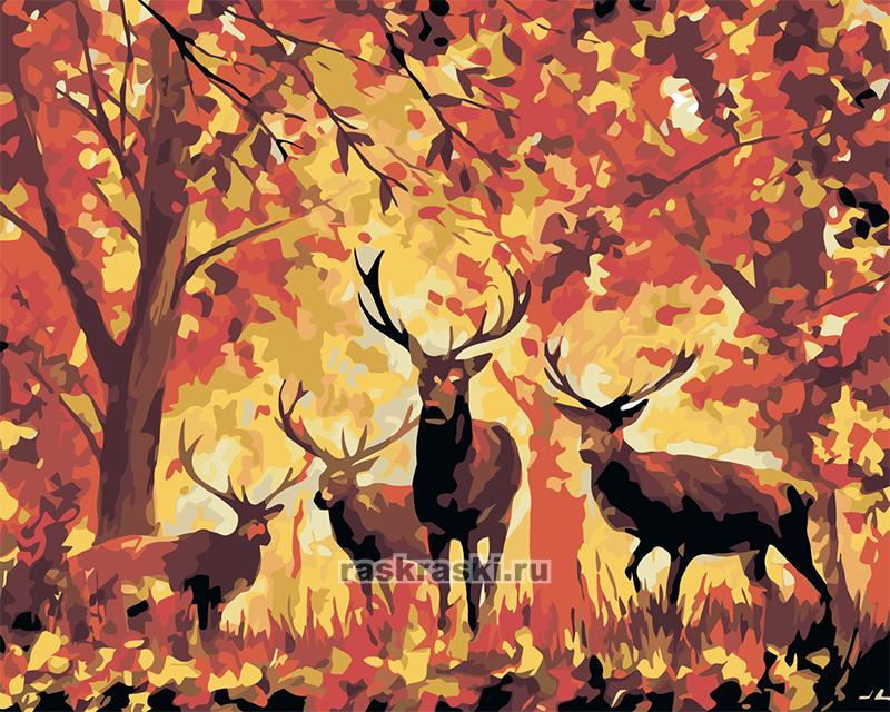 «Олени в осеннем лесу» Живопись по номерам LA16 — купить ...