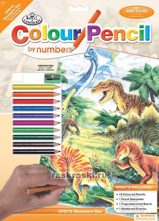 """Раскраска по номерам """"Динозавры"""" Royal Langnickel CPBNK-12 ..."""