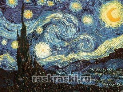 "Раскраска по номерам ""Звездная ночь Ван Гог"" Reeves ..."