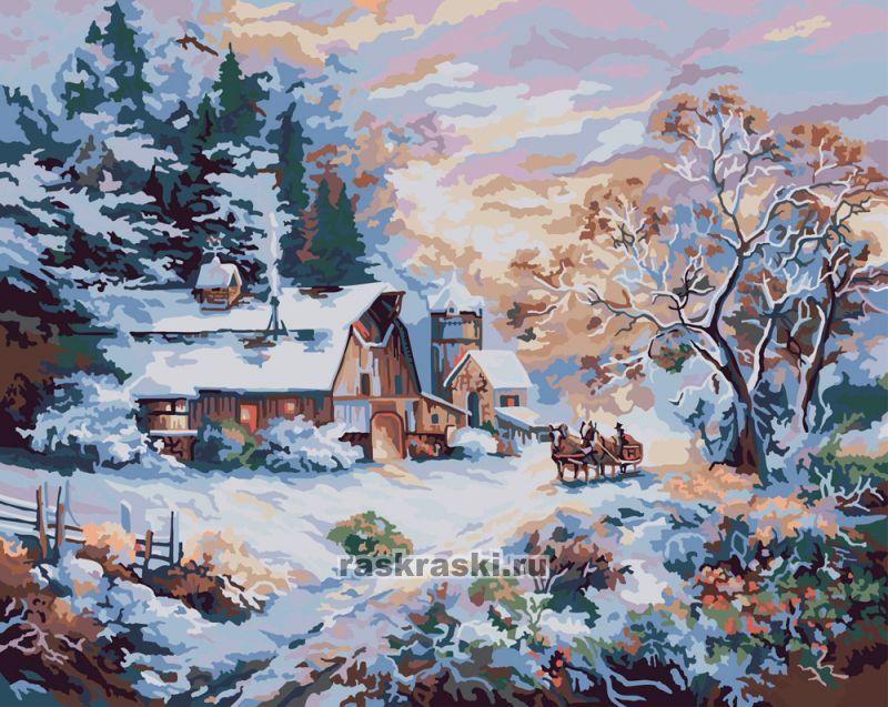 «Снежный вечер» PLAID 21783 — купить картину по номерам в ...