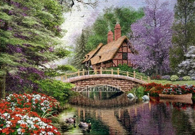 Купить пазл Castorland 1000 «Дом у реки» в интернет ...