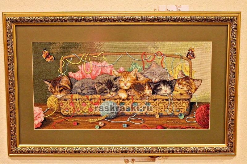 Новорожденные котята вышивка крестом