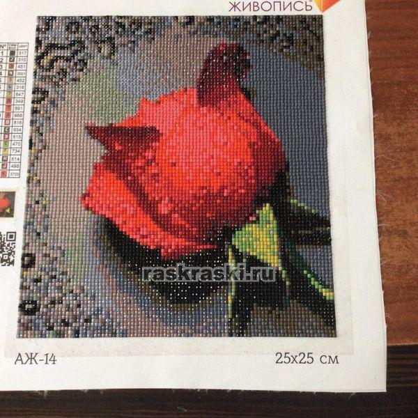Красная роза алмазная вышивка