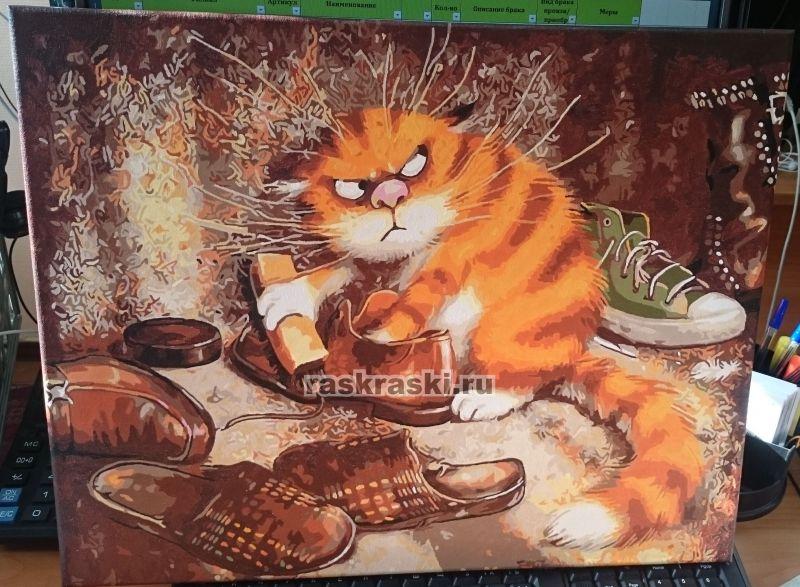 Картина абстракция кот
